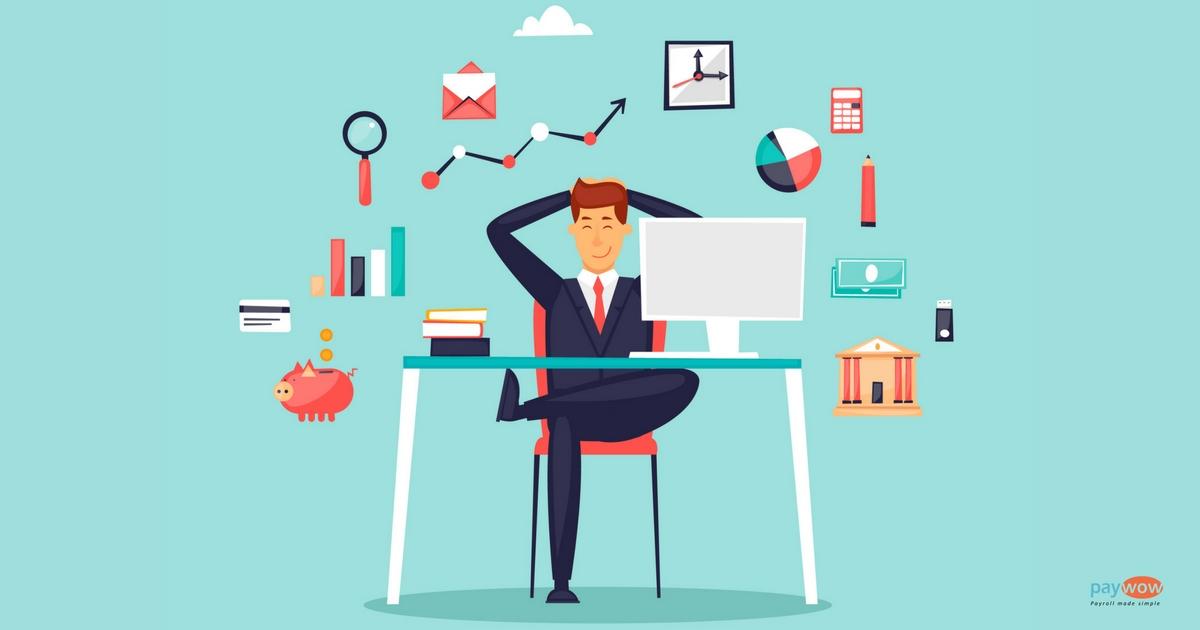 Happy human resources sitting at computer using big data