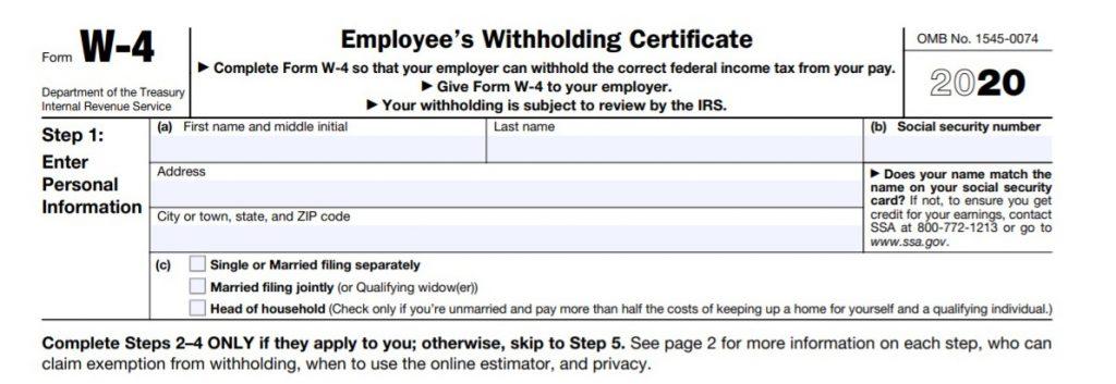 IRS 2020 W-4